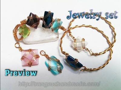 Preview Jewelry set with square and rectangular stones without holes 382