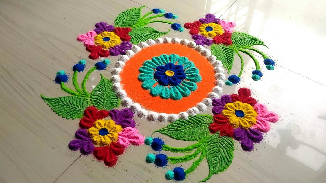 Rangoli Designs With Beautiful Awesome Flowersrangoli Design For