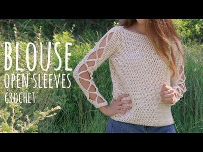 Tutorial Crochet Easy Open Sleeves Blouse | Lanas y Ovillos in English