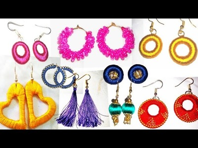 10 Different Types of Silk thread Earrings Making | Tutorial video