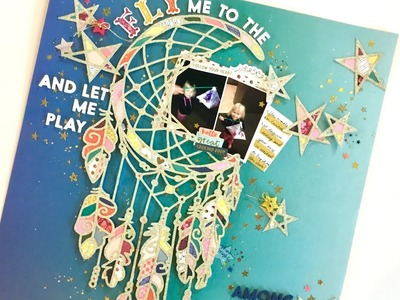 12x12 Scrapbook Process - #82 Fly me to the moon