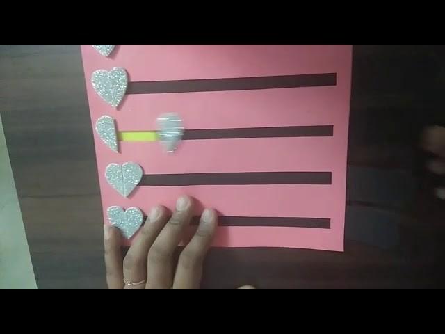 5 level heart slider card for scrapbook.  Tutorial. . How to make 5 level heart slider