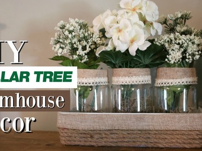 DIY Dollar Tree Decor Farmhouse | DIY Jar Flower Arrangement | DIY Farmhouse Mason Jar Decor