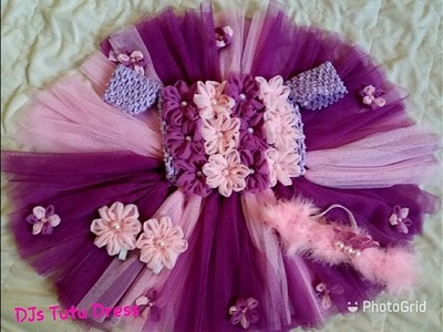 DIY how to design Tutu Dress with flowers lavender.pink.purple