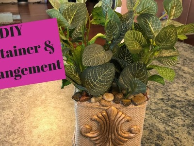Dollar Tree   Walmart Container And Greenery DIY