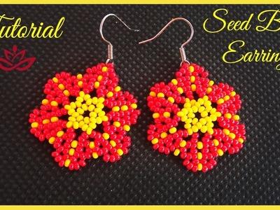 Easy Flower Seed Bead Earrings - Tutorial