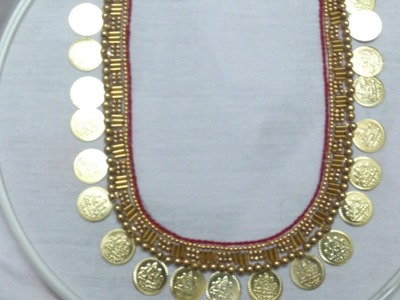 Hand embroidery. Aari style hand embroidery. Neckline embroidery . necklace embroidery.