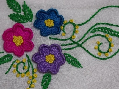 Hand Embroidery : Flower Embroidery : Bullion Knot Stitch & Satin Stitch