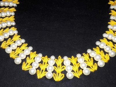 Hand Embroidery:Lazy Daisy Stitch neckline embroidery pearl design by nakshi katha.