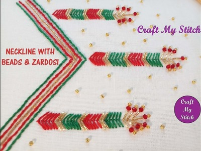 Hand embroidery | Neckline with beads and zardosi