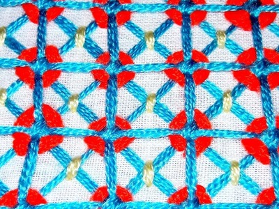 Hand embroidery net stitch design for nakshi katha   cushion cover design by cherry blossom.
