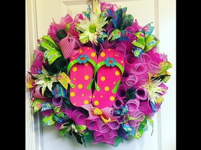 How to make a curly flip flop wreath Live Part 1