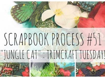 SCRAPBOOK PROCESS   51   'Jungle Cat'   First Edition Botanical Beauty   Trimcraft Tuesday!