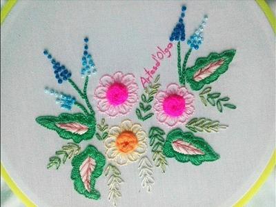 Spider Web Rose Stitch - Flower Hand Embroidery   Rosas en Punto Telaraña - Flores Bordadas a Mano