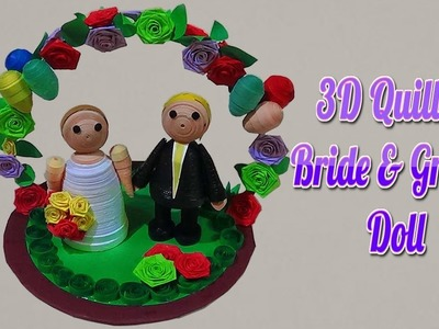 3D Quilled Bride & Groom Doll design with Quilling Paper | Paper Quilling Art
