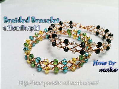 Braided copper Bracelet with small crystal beads - 4 strand celtic braided wire 399