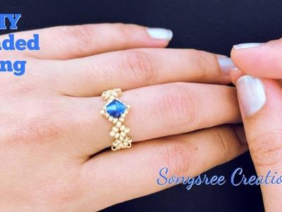 Dainty Beaded Ring.DIY Beaded Ring.How to make Beaded Ring