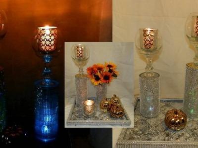 DIY Bling Elegant Candleholders| Dollar Tree DIY Glam Candleholders