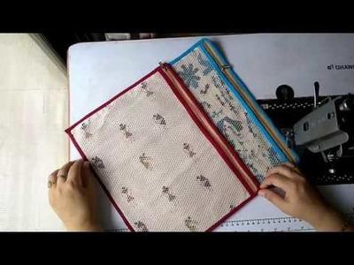 DIY Document Folder, How to attach piping, Document Organizer, Net Fabric Zipper Pouch