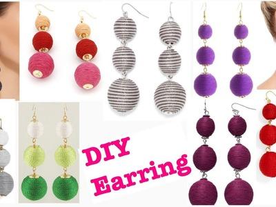 DIY FASHION WOMEN'S THREAD BALL DROP EARRINGS BOHO STYLE MAXI EARRINGS TRENDY EARRINGS DIY