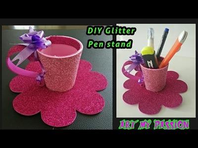 DIY Glitter Pen Holder | DIY Glitter Pen Stand | DIY Glitter paper crafts | artmypassion