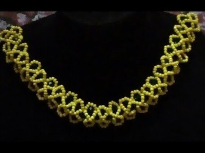 DIY tutorial on how to make this beautiful beaded yellow and Green necklaces.