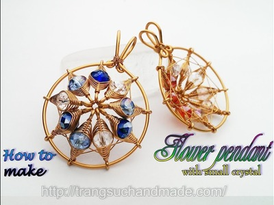 Flower pendant with small crystal - Herringbone wire wrap bead 390