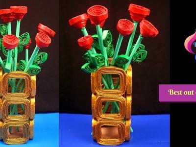 How to Make Best out of waste Flower vase & Flower - Make flower vase at home - Diy room decor