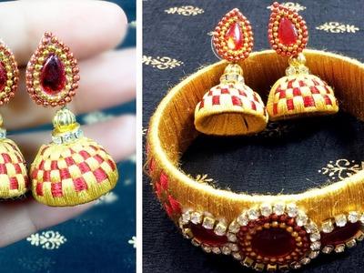 How To Make DIY Silk Thread Stud Earrings | Threader Earrings Designs