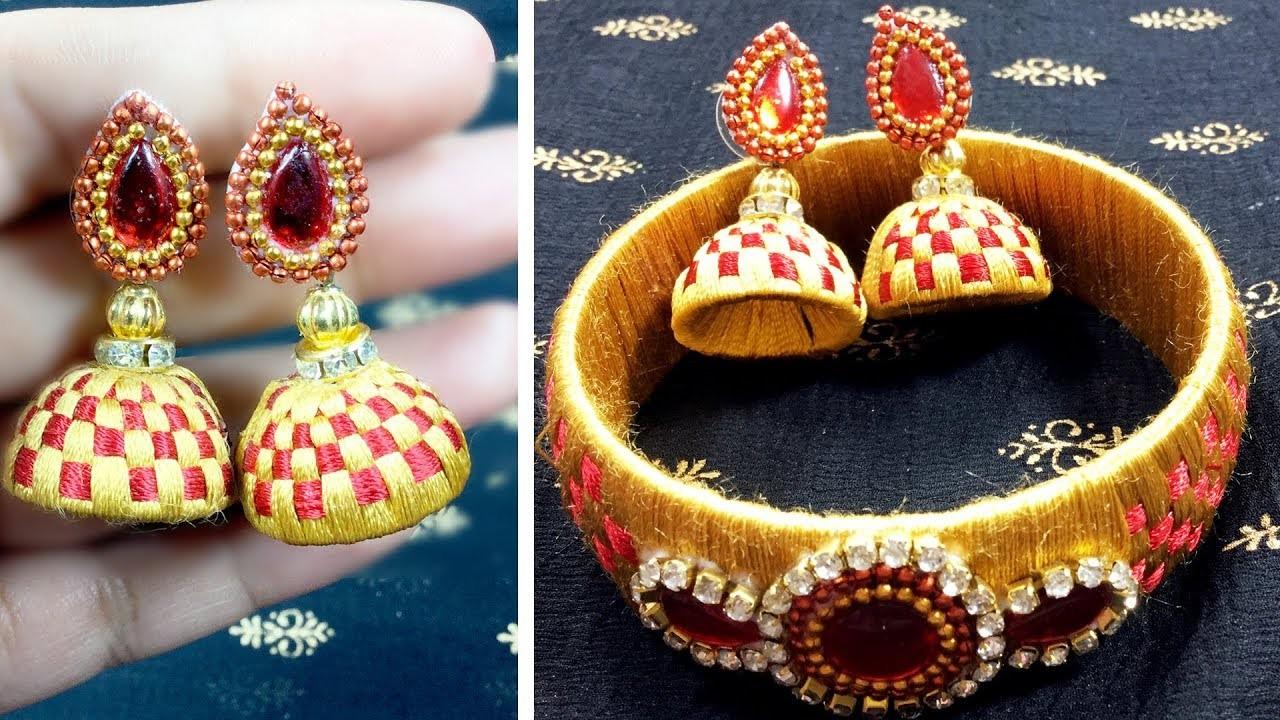 How To Make DIY Silk Thread Stud Earrings   Threader Earrings Designs