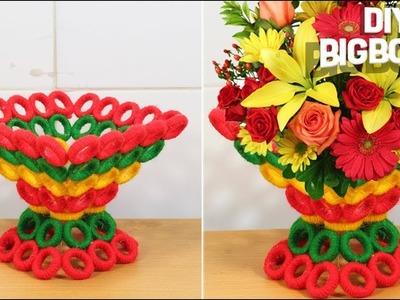 How to make Flower Vase with Newspaper & Woolen(2018), Super Easy  DBB