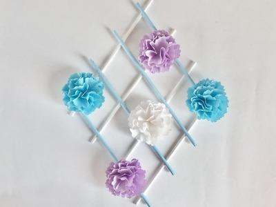 【折り紙】カーネーションの壁掛け Carnation wall hanging (without jagged scissors)