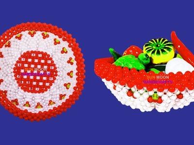 পুতির ঝুড়ি.How to make beaded Fruits basket.beaded basket