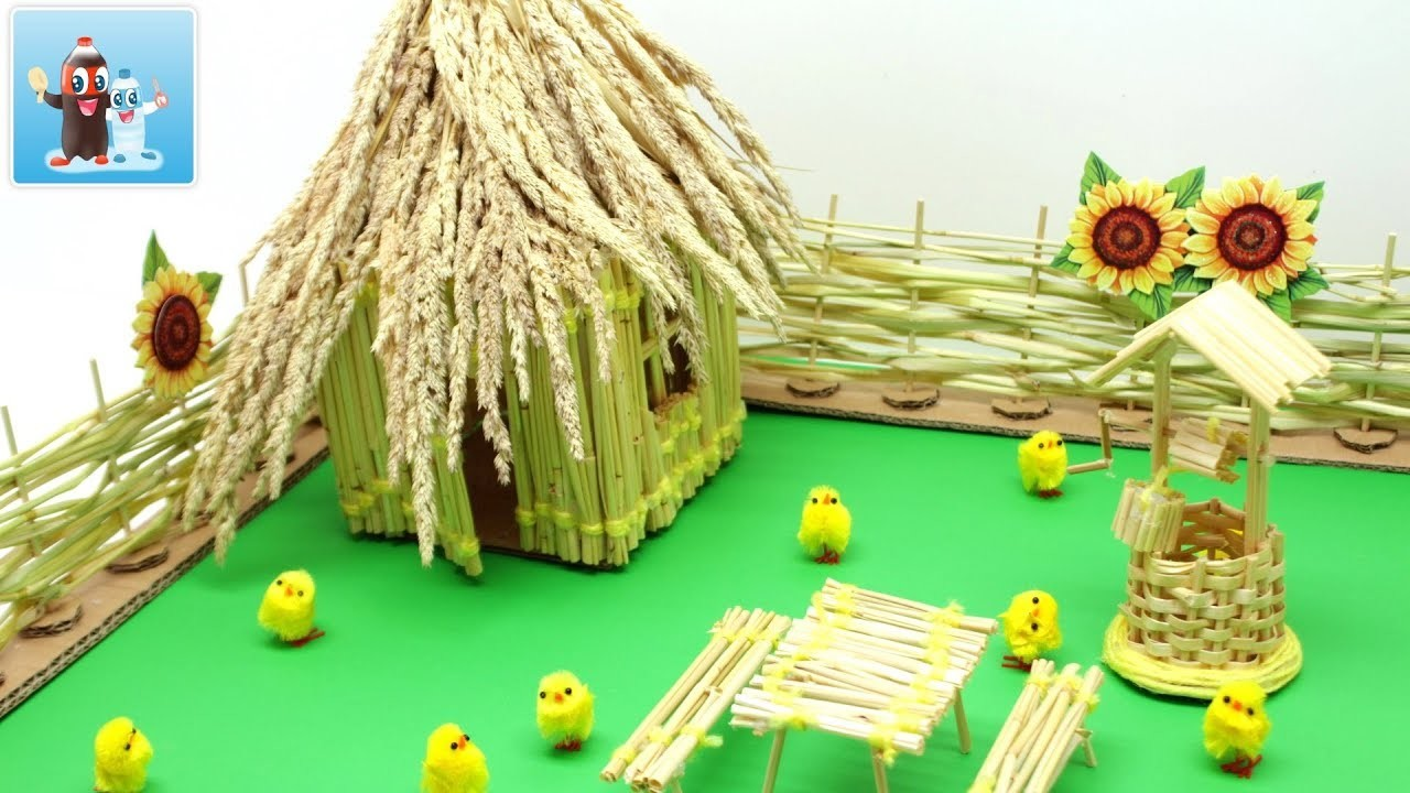 Art and Craft Ideas How to Make a Rustic Hut from the Grass