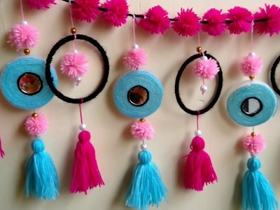 Beautiful Craft made with Old bangles , Bottle caps & woolen II Wall hanging # DIY