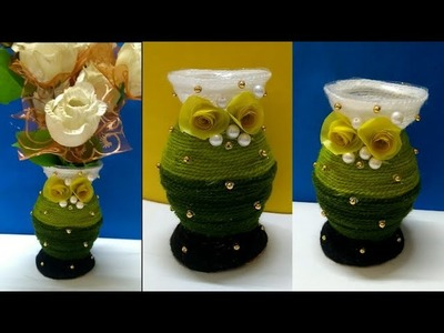 Best craft idea out of waste plastic bottle and woolen ll Flower pot DIY