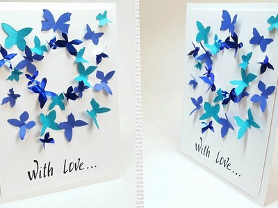 Butterfly greeting card design making ideas tutorial easy for friend, for mom. DIY Birthday Card