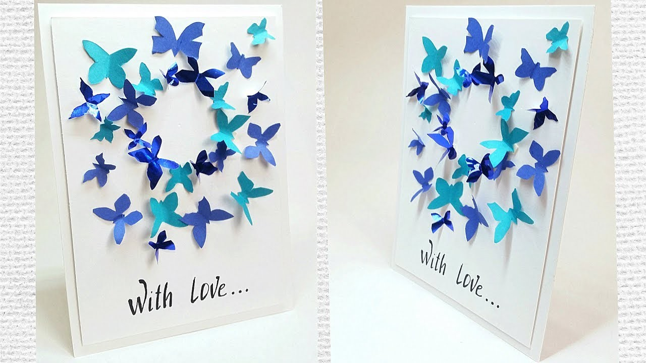 Butterfly Greeting Card Design Making Ideas Tutorial Easy For Friend