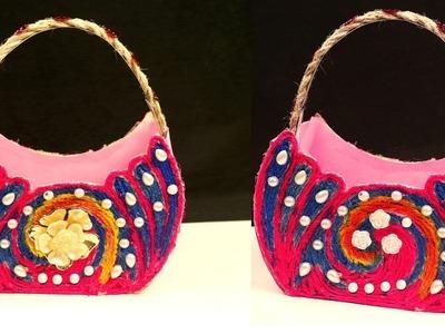 DIY - Best Out Of Waste Basket Idea - Waste Material craft - Homemade Basket Idea