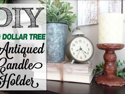 DIY EASY Antiqued Candle Holder | Dollar Tree Craft