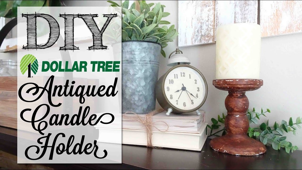 DIY EASY Antiqued Candle Holder | Dollar Tree Craft