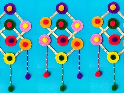 DIY: Ice Cream Stick Crafts.DIY-Woolen Craft.DIY-Wall Hanging Ideas With Ice Cream Stick & Woolen