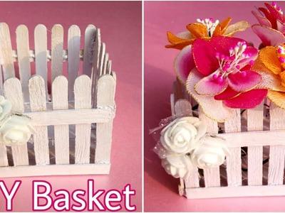 DIY Ice-Cream Sticks Basket    Flower Basket    Craft Stick Ideas    The Blue Sea Art