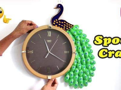 DIY Peacock Wall Clock | Easy Craft Idea | Amazing Plastic Spoon Hacks Craft