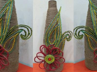 DIY Room Decor || Jute Craft || Best Out of Waste Glass Bottle ||