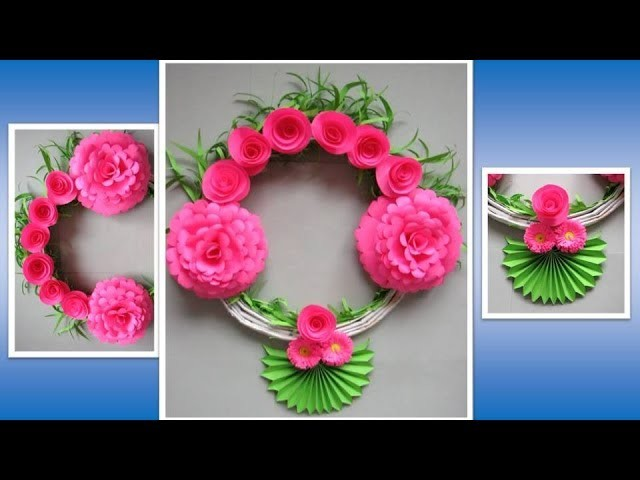 DIY. Simple Home Decor. Wall, Door Decoration. Hanging Flower. Paper Craft Ideas # 59