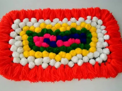 DIY - TABLE MAT FROM WOOLEN || BEAUTIFUL WOOLEN CRAFT FOR TABLE MAT MAKING ||AWESOME TABLEMAT WOOLEN
