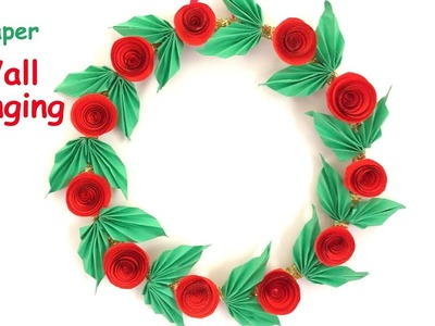 DIY - Wall Hanging from Paper.paper craft. Home decoration idea. Christmas wreath