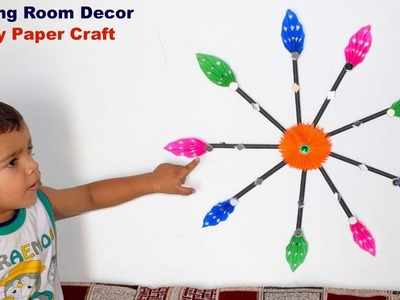 Drawing room decorating craft | Paper flower star making at home | Simple paper folding ideas