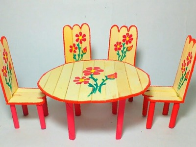 Easy Craft | How To Make Mini Dining Table From Popstick | Kids Craft | By Punekar Sneha